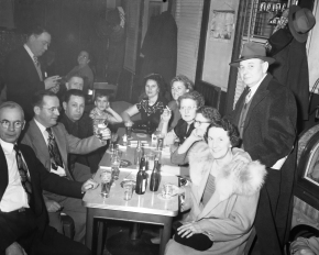 Neighbors gather to celebrate New Year's Eve 1951 at Frank's Cafe, 1132 Lee Street, Covington, Kentucky ... at the corner of 12th & Lee Streets.  The cafe was operated by Frank Folkerth and his wife, Marguerite, of Park Hills.  Photographs taken December 31, 1950.    Nobody in this picture has yet been identified, but they most certainly lived within a block or two of 12th and Lee to be celebrating New Year's in this neighborhood bar.